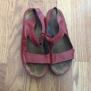 NAOT Red Leather Velcro Straps Sandals